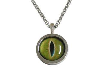 Bordered Green Reptile Eye Design Pendant Necklace