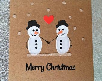 """Snowman Love Handmade Christmas Card - 4"""" x 4"""""""