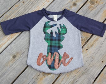 Woodland Deer First Birthday Raglan, 18 Month Raglan, Green and Navy Birthday Shirt , Wood Grain