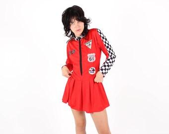 SICKEST Race Car / Speed Racer Flag Girl Lycra Long Sleeve + Mini Skirt Avant Garde Mini Dress / Doof Costume