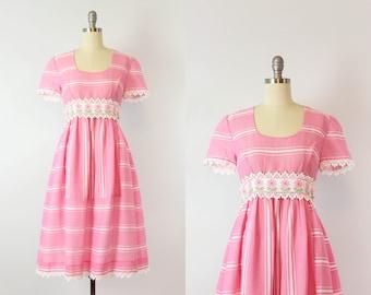 vintage 60s striped dress / 1960s pink floral striped dress / cotton lace trim dress / empire waist dress / Sundae Best dress