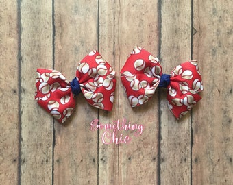 Baseball pigtail Bows Summer Infant Toddler Hairbow Red White Blue colors starter set alligator hair clip clippies