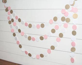 Pink and Gold Baby Shower Decorations - 14' Paper Garland - Birthday Party Garland - Girl Baby Shower Decorations