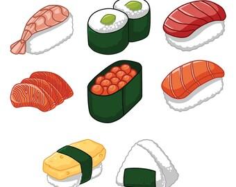 Kawaii Sushi Sticker Set!