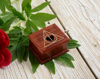 Harry Potter Deathly Hallows and heart music box  - soundtrack and design inspired handmade wooden music box