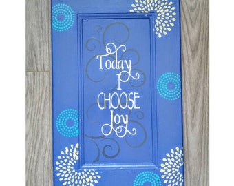 Upcycled Home Decor, Primitive Wooden Sign, Royal Blue Painted Sign, Today I Choose Joy Sign, Eco Chic Home Decor, Inspirational Quote