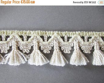 SUMMER SALE - German Vintage Beige Rustic Fabric Border Trim with Chenille Ornamental Trimmings for Lampshades Curtains, Supply