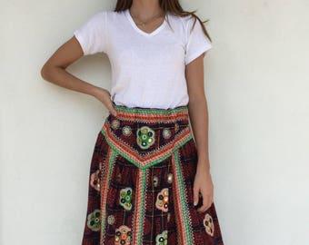 Gorgeous 1970's mirrored Indian maxi skirt