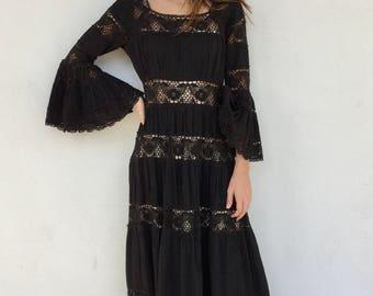Stunning 1970s black lace crochet maxi dress