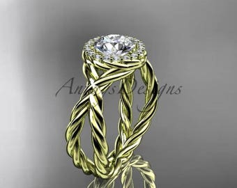 "14kt yellow gold diamond rope engagement ring ""Forever One"" Moissanite RP889"