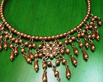 Vintage 1990s Boho Gypsy Beaded Chandelier Embellished Gold Tone Necklace