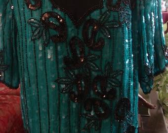 Vintage 1997 Boho Tuquoise and Black Sequin Short Sleeve Blouse