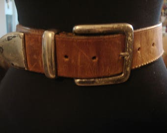 Vintage 1990s Unisex Distressed Leather Boho Chic Silver Metal Detail Belt