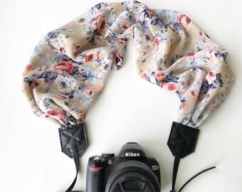 Scarf Camera Strap - dslr camera strap - camera neck strap - antique dark cream blue and pink floral