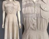 Wartime 1940s summer dress in linen