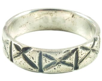 Viking Wedding Band  for the Norse Warrior and his ShieldMaiden Custom made silver jewelry Ring.