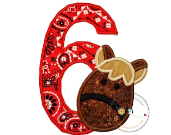 Horse number 6 birthday iron-on applique with red bandana print and a horse's head in brown speckled fabric, embroidered reign, trimmed