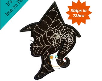 Girl witch sillouette with glitter webs - large iron embroidered fabric applique patch embellishment- ready to ship