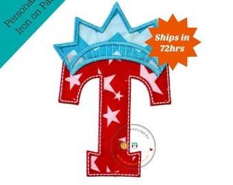 Star spangle inital letter T iron on applique, Patriotic monogram embroidered patch, Liberty letter T July 4th holiday monogram, 4th of july