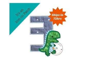 ON SALE NOW Dinosaur birthday number three machine embroidered patch, fast shipping iron on Dino birthday applique, green and gray number 3