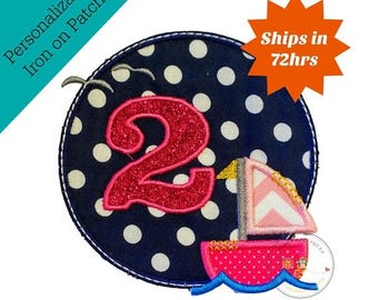 ON SALE NOW Sailboat circle girl birthday number 2, embroidery nautical glitter number 2, sailboat themed iron on first birthday patch, read