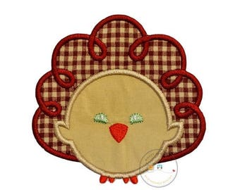 ON SALE NOW Tan and maroon Thanksgiving turkey iron on applique- No sew machine embroidered holiday turkey applique-Diy boutique fashions- r