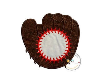 ON SALE NOW Over sized monogram baseball mitt and ball iron on applique, Embroidered fabric baseball glove with baseball iron on patch, spor
