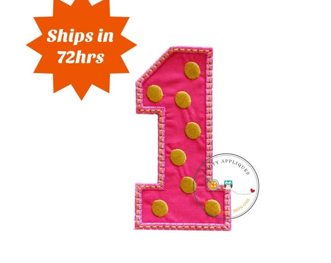 Pink block number one with embroidered gold dots, fabric iron on applique, machine embroidered iron on number 1 patch for kids, pre-made