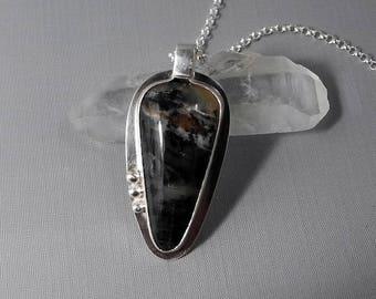 Dendritic Opal Pendant, Merlinite Necklace, Natural Dendritic Cabochon, Dentrite Opal Peru, Mystical Stone, Black and White Pendant