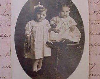 Precious Edwardian Era Photograph of Two Sweet Little Sisters