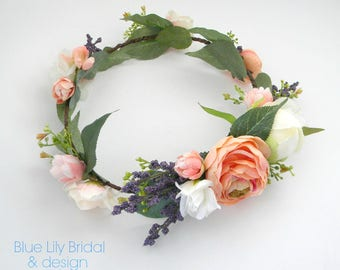 Boho Flower Crown in Peaches, Creams and Blush with Lavender Sprays/ Natural Flower Halo/ Bridal Headpiece/ Wedding Flower Crown/ Photo Prop