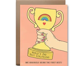 World's Second Best Girlfriend Greeting Card