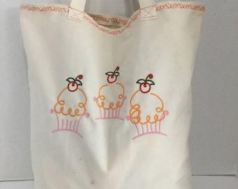 Reusable Shopping Bag - Market Bag - Canvas Tote - Cupcakes
