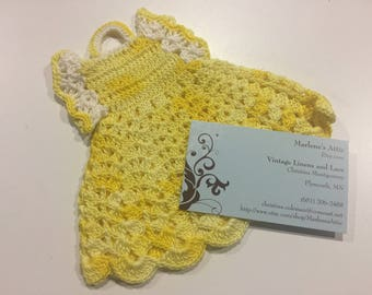 Vintage Yellow colored hand crochet dish soap cover up or hand held pot holder by MarlenesAttic