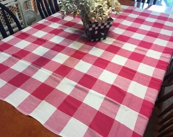 Vintage Pink and White Plaid  tablecloth for housewares, home decor by MarlenesAttic
