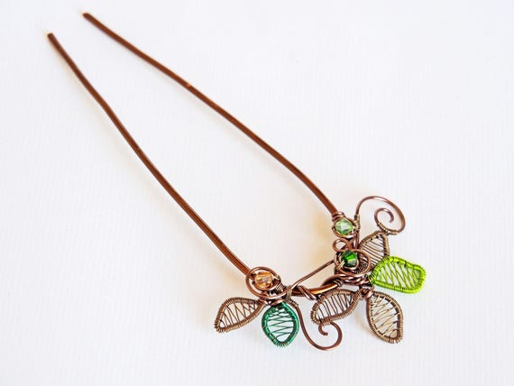 Leafy hair fork pin stick holder hairpin nature jewelry metal wire hair pick anniversary gifts for women clothing gifts handmade decoration