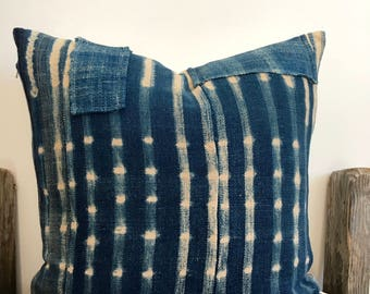 Patched Indigo pillow, African Tye Dye Indigo Mud Cloth Pillow case, African Ethnic Mud cloth textile, Hand dye, 18x18,African Blue Indigo