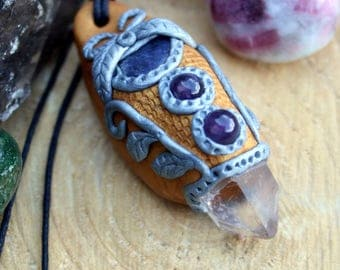 Gold and Silver Clay Pendant with Lapis Lazuli and Amethyst on Black Hemp Cord