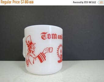 ON SALE Vintage Hazel Atlas Christmas Mug // Tom and Jerry Red and White Punch Cup or Egg Nog Glass Replacement Piece Festive Holiday Servin