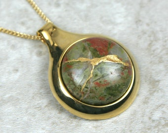 Kintsugi (kintsukuroi) unakite stone cabochon with gold repair in a gold plated setting on gold chain - OOAK
