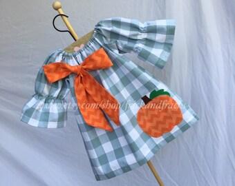 Light Blue Gingham Pumpkin Dress with Bow, Halloween Dress, Thanksgiving Dress, Peasant Dress with Pumpkin Applique, Toddler, Baby, Girl