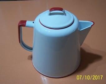 Enamel Red & White Coffee Pot