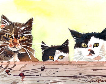 ACEO Limited Edition 1/25- Mischievous fellas, Cute cat art print of an original watercolor, Gift for animal lovers