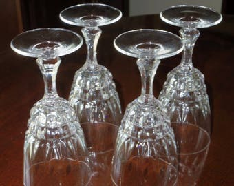 """4 D'ARQUES POMPADOUR CRYISTAL France Discontinued Wine Sherry Glasses Vertical Horizontal Clear Cut Goblet Multi Sided Stem 6"""" Set Excellent"""