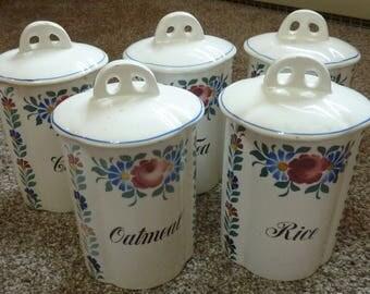 vintage German flowered canister set Coffee, Tea, Sugar, Oatmeal  and Rice