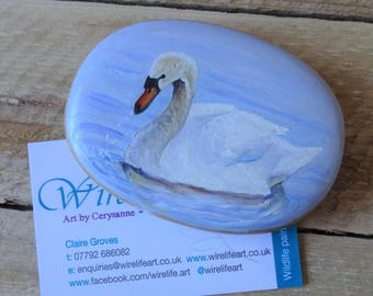 Swan Miniature Art Hand Painted Beech Pebble - Palm size wooden pebble portrait hand painted in oils with a  swimming swan - swan bird art