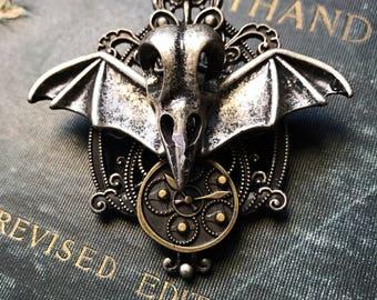 Steampunk Brooch Steampunk Pin, Gear Jewelry, Steampunk Jewelry, Bird Skull Jewelry, Goth Inspired, Unisex Jewelry, Gear Pin, Raven Skull