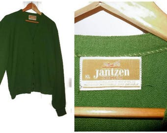 Vintage Men's Sweater 1950s Green Jantzen Cardigan Orlon Acrylic Emo Rockabilly Grandpa vintage XL chest to 48 inches