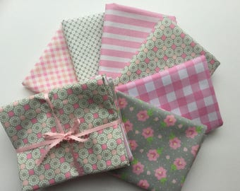 Fat Quarter bundle of 6 - Pink and Gray