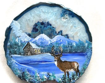 Hand Painted Brazilian Agate Winter Log Cabin and Deer